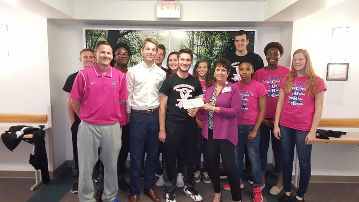 Laney Men's and Women's Basketball teams donating a $800 check to the Zimmer Cancer Center today, To date, Basketball & Cheerleaders have donated nearly $3,000 the past 4 years to the foundation.