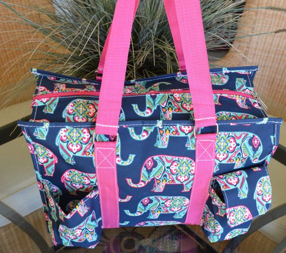 Pink Elephant Tote 16 Utility Tote organizer by StitchedInStyle1
