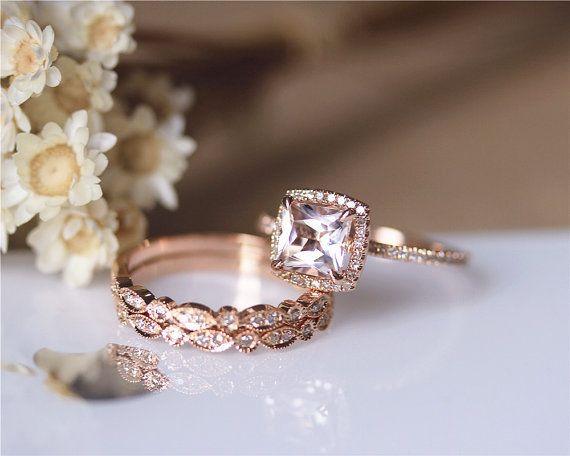 3PCS ring set Princess Cut 14K Rose Gold Morganite by JulianStudio