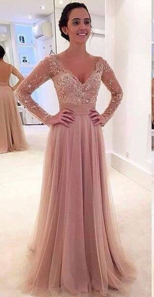 2016 elegant v-neck pink lace tulle long prom dress with sleeves, ball gown, modest prom dress #coniefox #2016prom