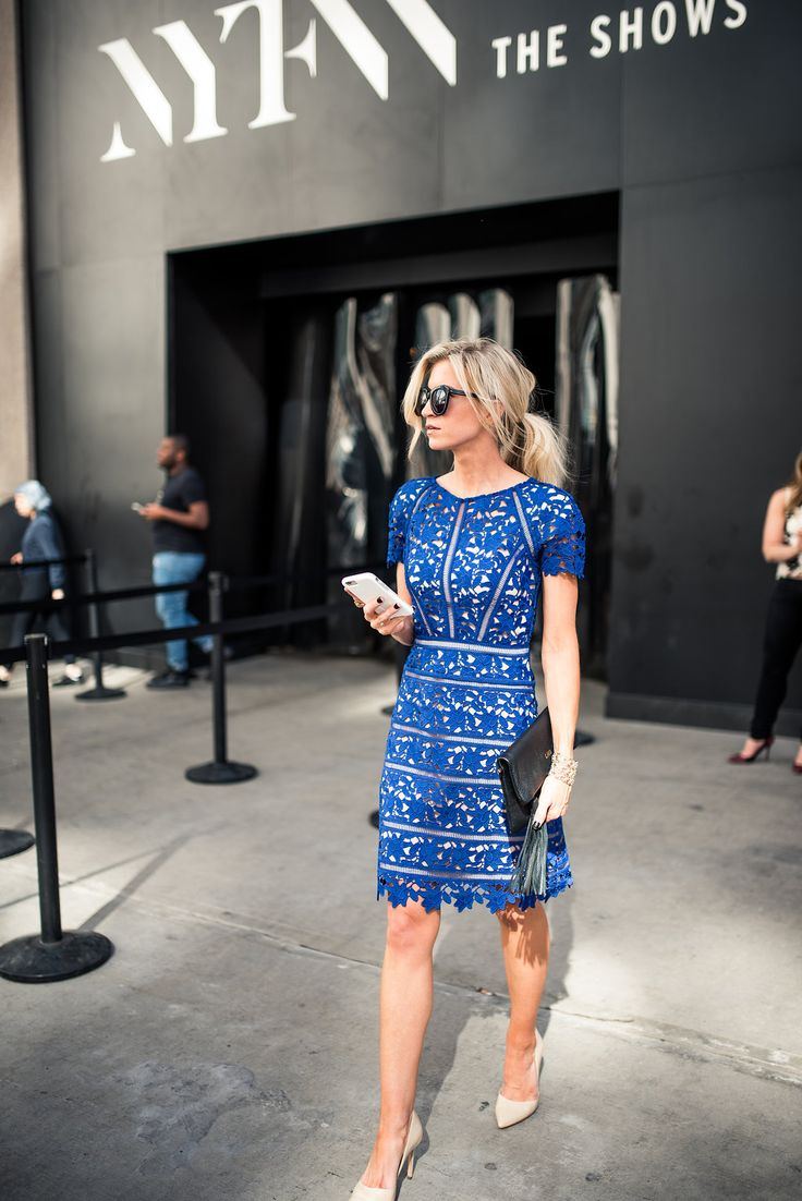 Cobalt blue lace overlay dress with sleeves for New York Fashion Week SS17.