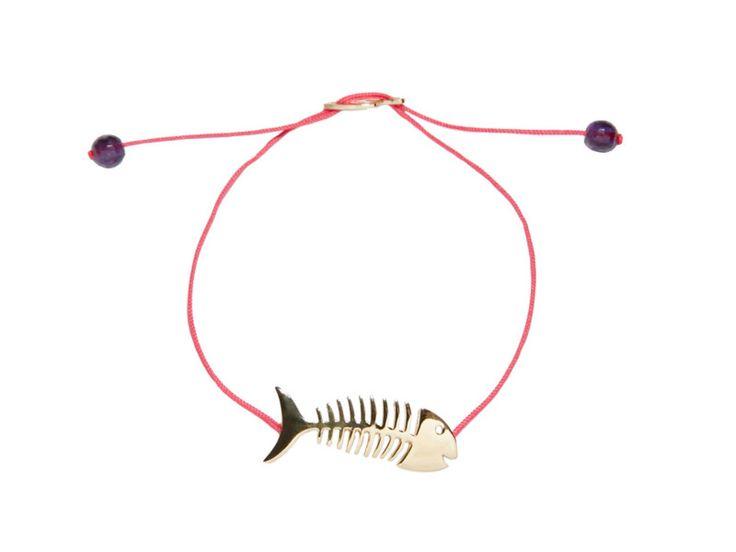 BRACCIALE FISHBONE ARGENTO 925 PLACCATURA ORO GIALLO COLORE FILATO: ROSA FLUO PIETRE: AMETISTA