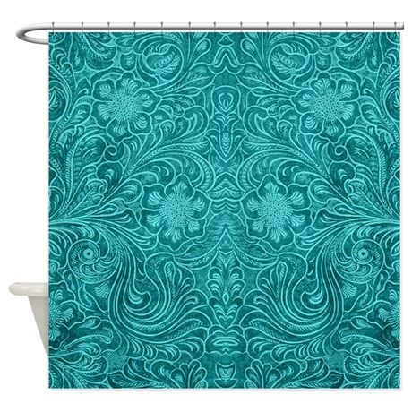 Leather Look Floral Turquoise Shower Curtain on CafePress.com