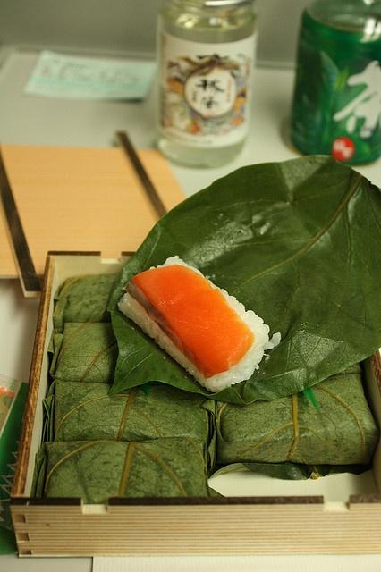 Japanese Food Kakinoha Zushi, Salmon Sushi wrapped in Persimmon Leaves (Ekiben, Railway Boxed Bento Meal)|柿の葉寿司弁当