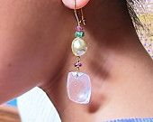GER 206, Rose Quartz, Salt Water Pearl, 18 Kt Gold Ear Wire