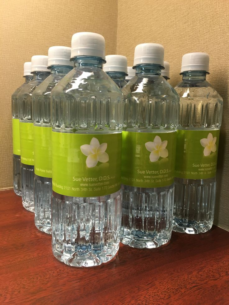 Seattle area Dentist, Dr. Vetter, shared this photo of their custom label bottled water.  Create your own at: www.bottleyourbrand.com #dentist #promotion #office #customlabelbottledwater
