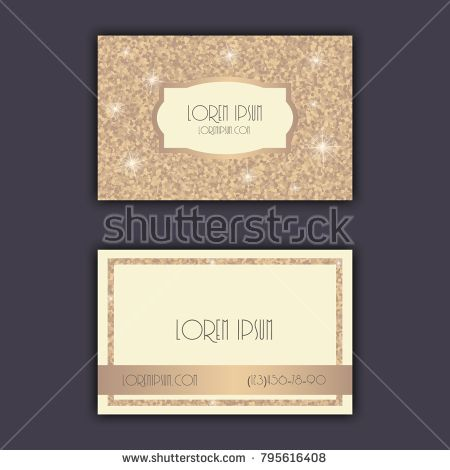 Business card templates with glitter shining background.