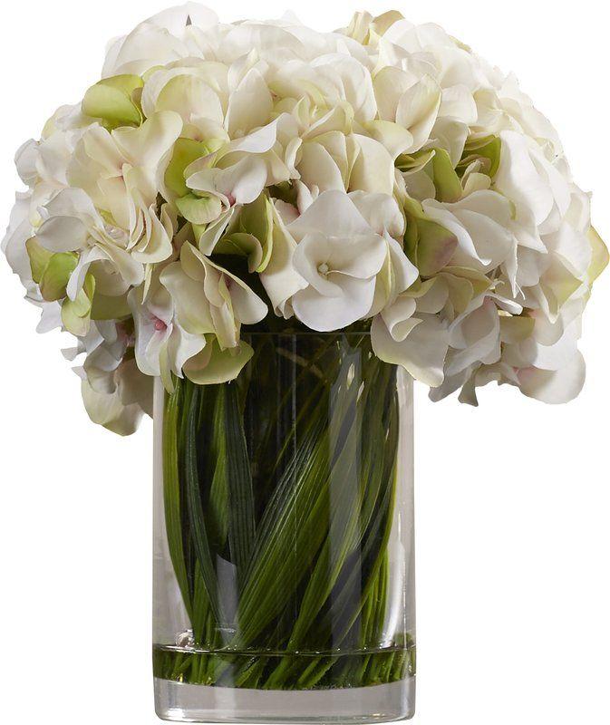 Collingwood Hydrangea Floral Arrangement In Vase Hydrangea Arrangements Hydrangea Vase Faux Floral Arrangement