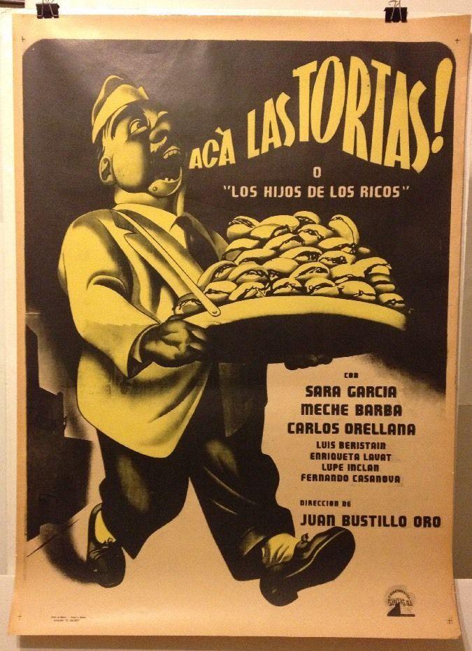 Original Vintage Mexican Movie Poster: ACA LAS TORTAS! Circa early 1950's.