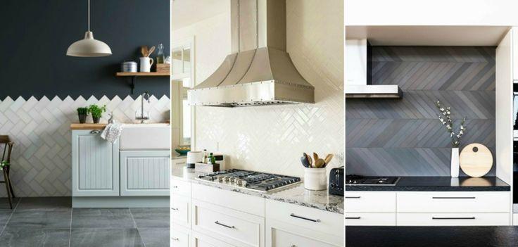 Fliesenspiegel mit Fischgrätmuster für die Küche Wandgestaltung - ideen fliesenspiegel küche