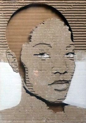 Cardboard Relief Portrait – Untitled