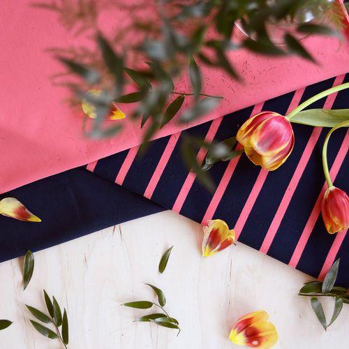 Raitacollege, Navy/Coral  | NOSH Fabrics Spring & Summer 2016 Collection - Shop at en.nosh.fi | Kevään 2016 malliston kankaat saatavilla nyt nosh.fi