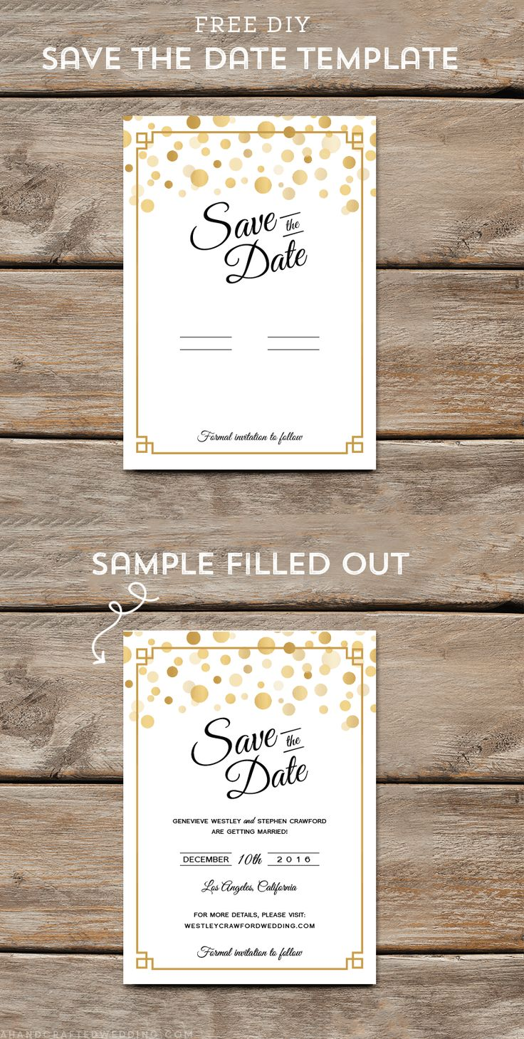 And Customize This Free Modern Gold Diy Save The Date Template Then Print As