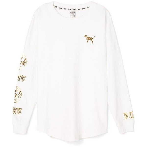 Victoria's Secret PINK Varsity Crew X-Small White Bling Long Sleeve at... ($79) ❤ liked on Polyvore featuring tops and victoria's secret