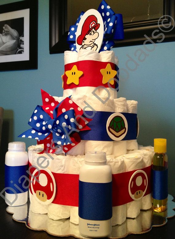 Custom Personalized 65 DIAPER CAKE Baby Mario Brothers Theme Boy Baby Shower Gift Decoration Centerpiece Red & Blue