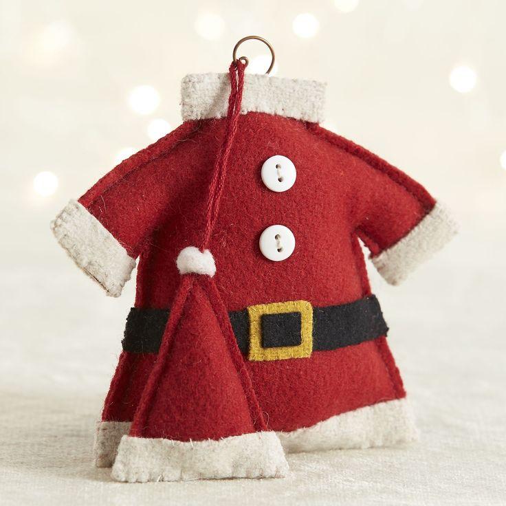Cute ornament! http://www.crateandbarrel.com/felt-santa-suit-ornament/s394068