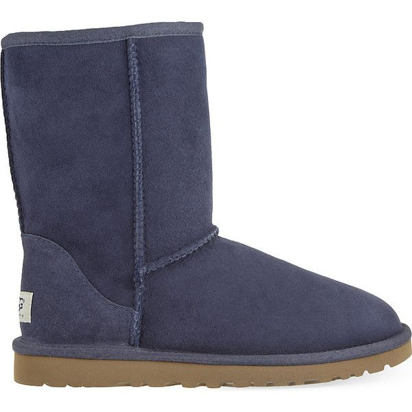 Ugg Classic Short sheepskin boots ($176) ❤ liked on Polyvore featuring shoes, boots, ankle booties, slip on boots, ugg boots, cold weather boots, navy blue boots and ankle boots