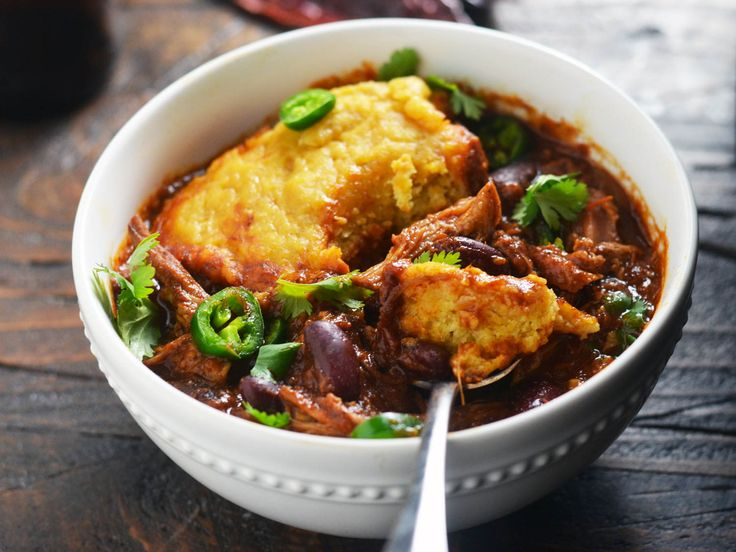 Slow-Cooker Pulled-Pork Chili With Cornbread Dumplings Recipe | Serious Eats