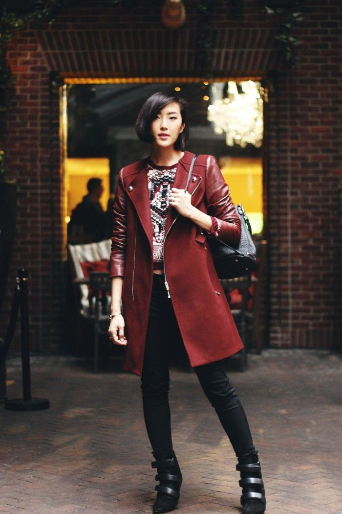 burgundy and leather by chriselle