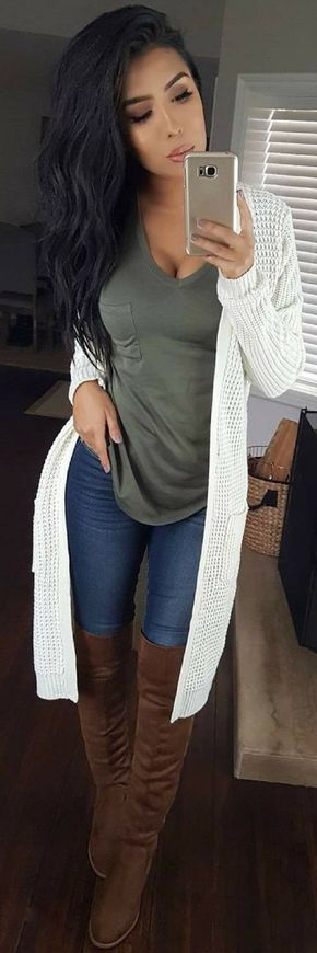 #winter #outfits women's gray v-neck shirt and white long cardigan