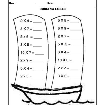 Dodging Tables Study Materials Free Math Worksheets