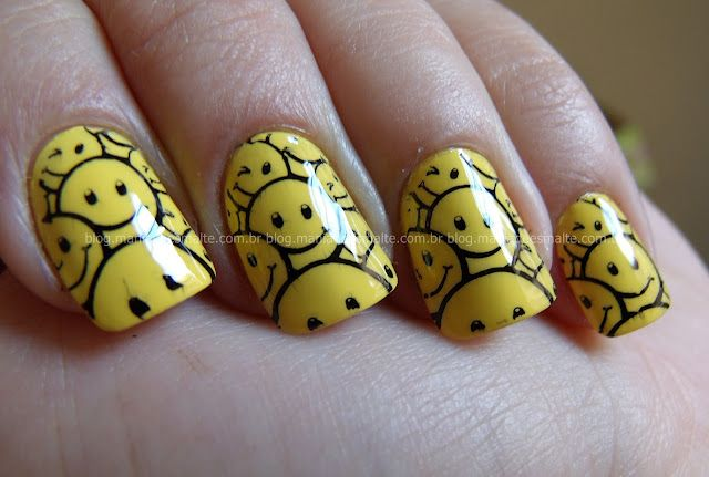 Smile by Mania de Esmalte: Nails Stamps, Stamps Nails, Smile Stamps, Smile Nails, Nails Art, Nailss 3, Nails Smile, Happiest Manicures, 6Th Birthday Parties