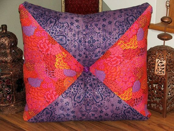 Extra Large Square Floor Pillows : Hot Pink and Purple Extra Large Stuffed Square Tufted Pillow/ Floor Pillow/ Boho Chic Pillow ...