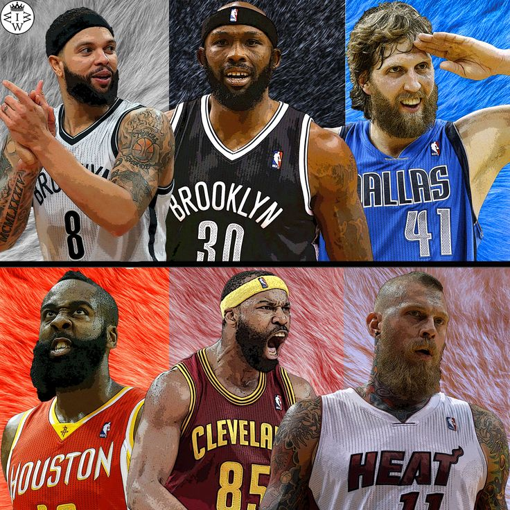 Players with beards!  Deron Williams, Reggie Evans, and Dirk Nowitzki VS James Harden, Baron Davis, and Chris Andersen.  Who Would Win It?