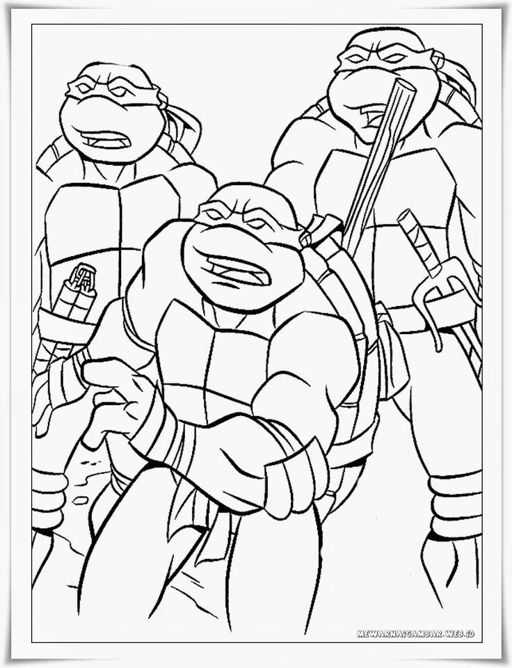 gambar mewarnai kartun kura-kura ninja