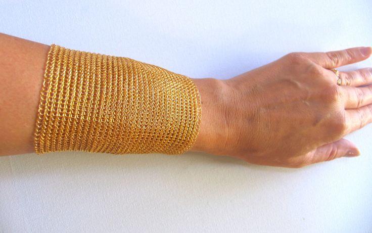 Adjustable gold cuff bracelet /  Extra wide cuff / Metal gold cuff/ For Her/ Gift/ Schick/ Wire crochet bracelet/ Handmade bracelet by KvinTal on Etsy