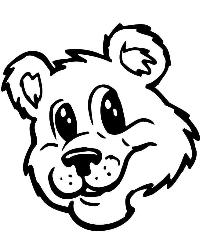 Teddy Bear Face Coloring Page Free