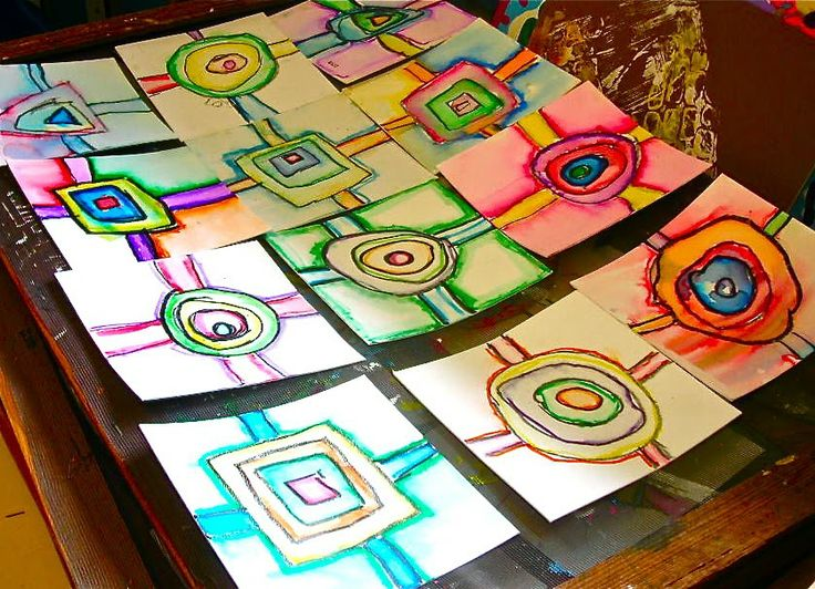 Fine Lines: Collaborative Shapes using markers, crayons and water.