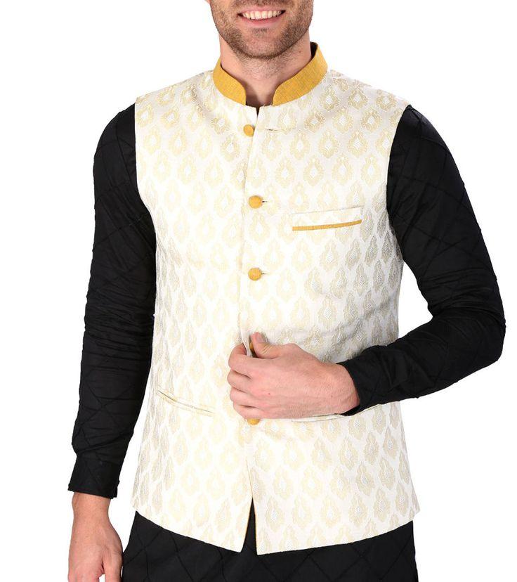 White Zari Work #Brocade #Nehru #Jacket