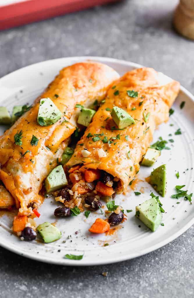 The Best Vegetarian Enchiladas Sweet Potato And Black Bean Recipe In 2020 Vegetarian Enchiladas Vegetarian Entrees Vegetarian Recipes