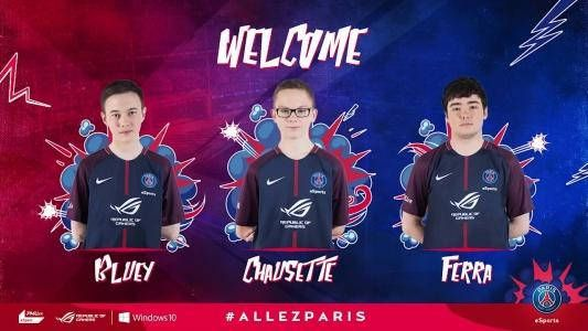 Rocket League : le PSG eSports entre dans l'arène - Le Paris Saint-Germain eSports fait son entrée dans l'arène de Rocket League en recrutant l'équipe de Victor 'Ferra' Francal, Dan 'Bluey' Bluett et Thibault 'Chausette' Grzesiak.