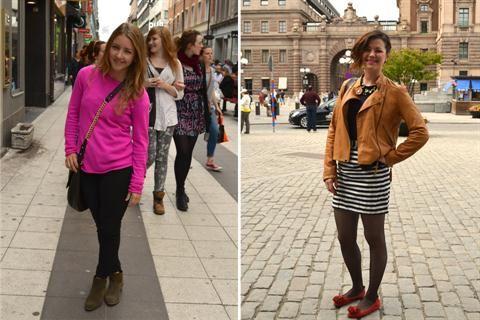 Cambiá de estación e inspirate con este Coolhunting en Suecia  A la izquierda, nada mejor que un sweater fucsia para levantar un look. Y a la derecha, chatitas rojas, una mini a rayas y chaqueta de cuero. ¡Impecables las dos!