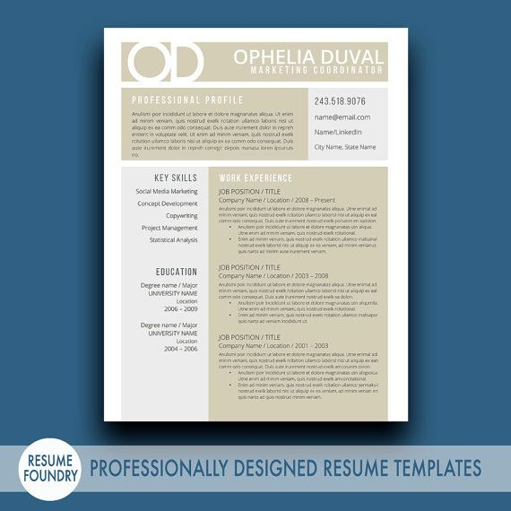 creative resume template the ophelia - Word Template For Resume