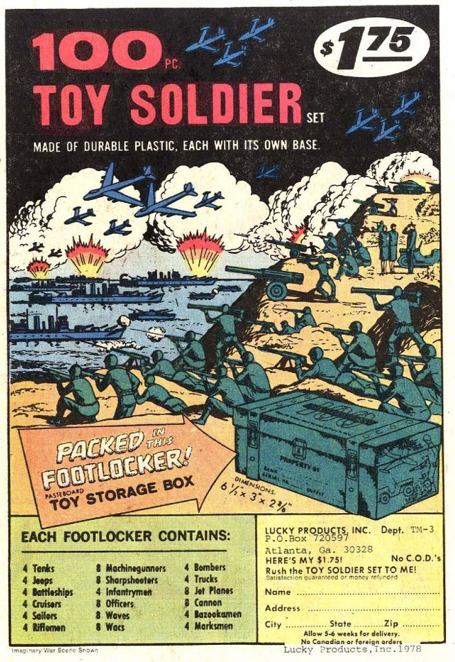 Toy soldier advertisement from 1970s comics. This advertisement was in the back of many American comics. I really wanted this but of course I did not get it.