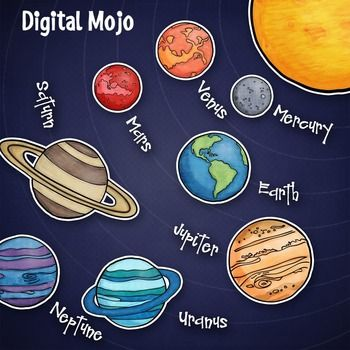 This solar system planet clipart set includes the 8 planets plus the sun in color and black lines, as well as a dark blue digital paper.