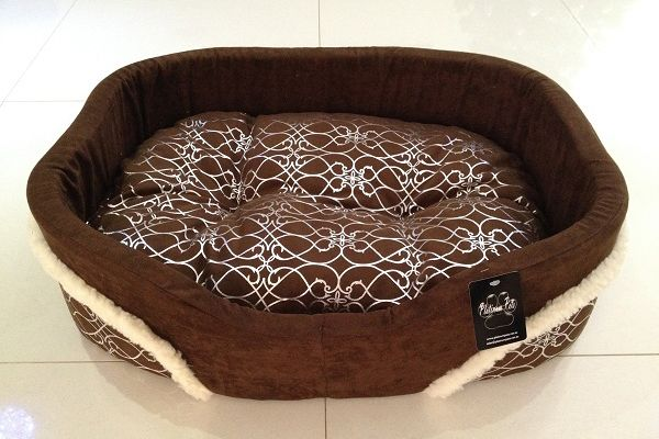 Silver Fur Brown Dog Bed - Medium