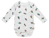 Comfortably soft, long-sleeved body for boy's featuring Rocket & Stars print.  Envelope neck opening for easy 'no tears' dressing. Designed to fit over both cloth nappies and disposables.