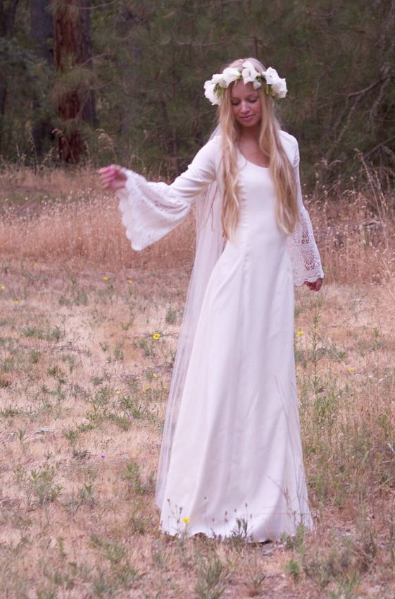 hippie wedding dress, ivory wedding dresses, boho wedding dresses, bohemian bride, 70s inspired gown, retro gown, long sleeve wedding dress, hippie wedding, daughters of simone,
