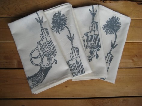 block printed tea towels
