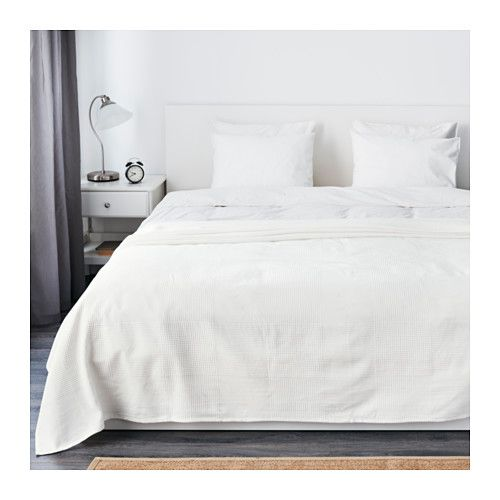 """IKEA - INDIRA, Bedspread, 98x98 """", , Fits a Full bed with a drop of 22"""", a Queen bed with a drop of 14"""" and a King bed with a drop of 10""""."""