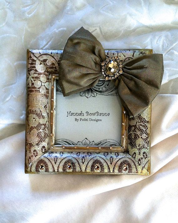 Mothers Day Gift Jeweld Photo Frame Vintage Lace by HannahBowBanna