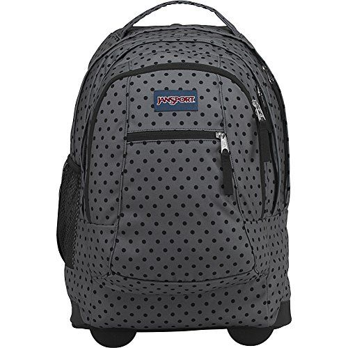 JanSport Driver 8 Rolling Backpack (Black Dot-O-Rama) - The JanSport Driver 8 is a full-size wheeled backpack, complete with a padded laptop sleeve. Perfect for light overnight travel or wheeling across campus.