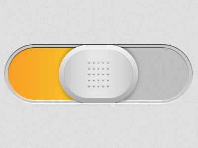 Toggle Button. White gripper handle, yellow slide indicator.