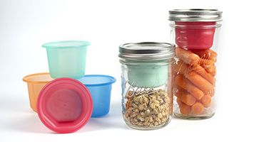 Cuppow's lunch box adapters for canning jars (or mason jars) are perfect for storing salad fixings and dressing, crudités and hummus, or oth...