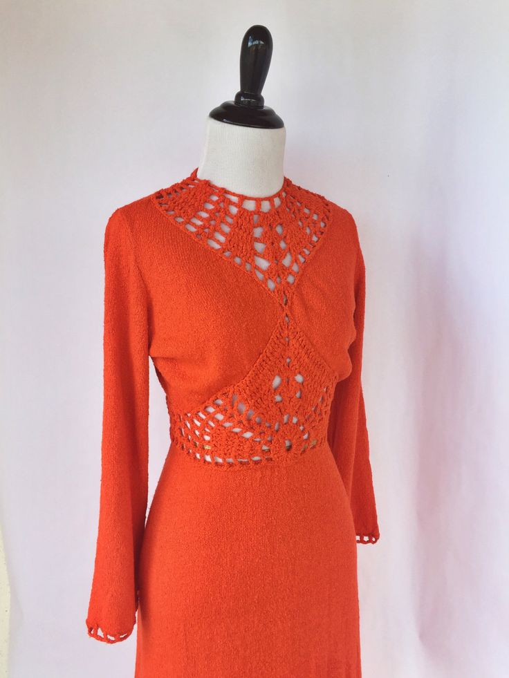 70's Stunning Orange Knit & Crotchet Maxi Dress by shopvintageclectic on Etsy