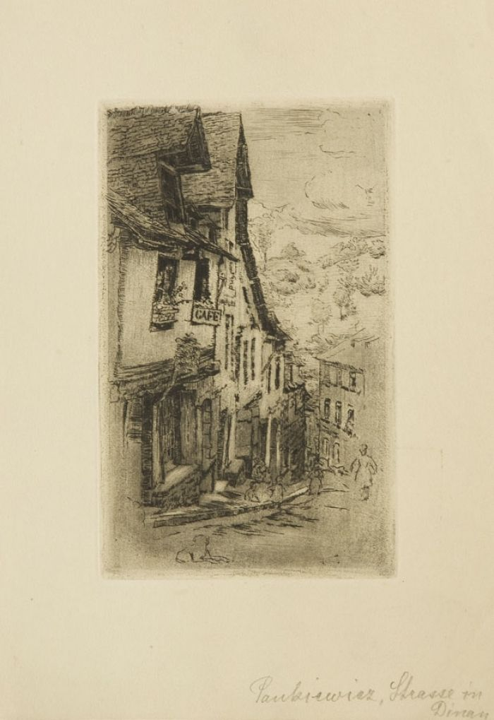 Józef Pankiewicz - Ulica Jeruzal w Dinan, z psem, 1906 r.